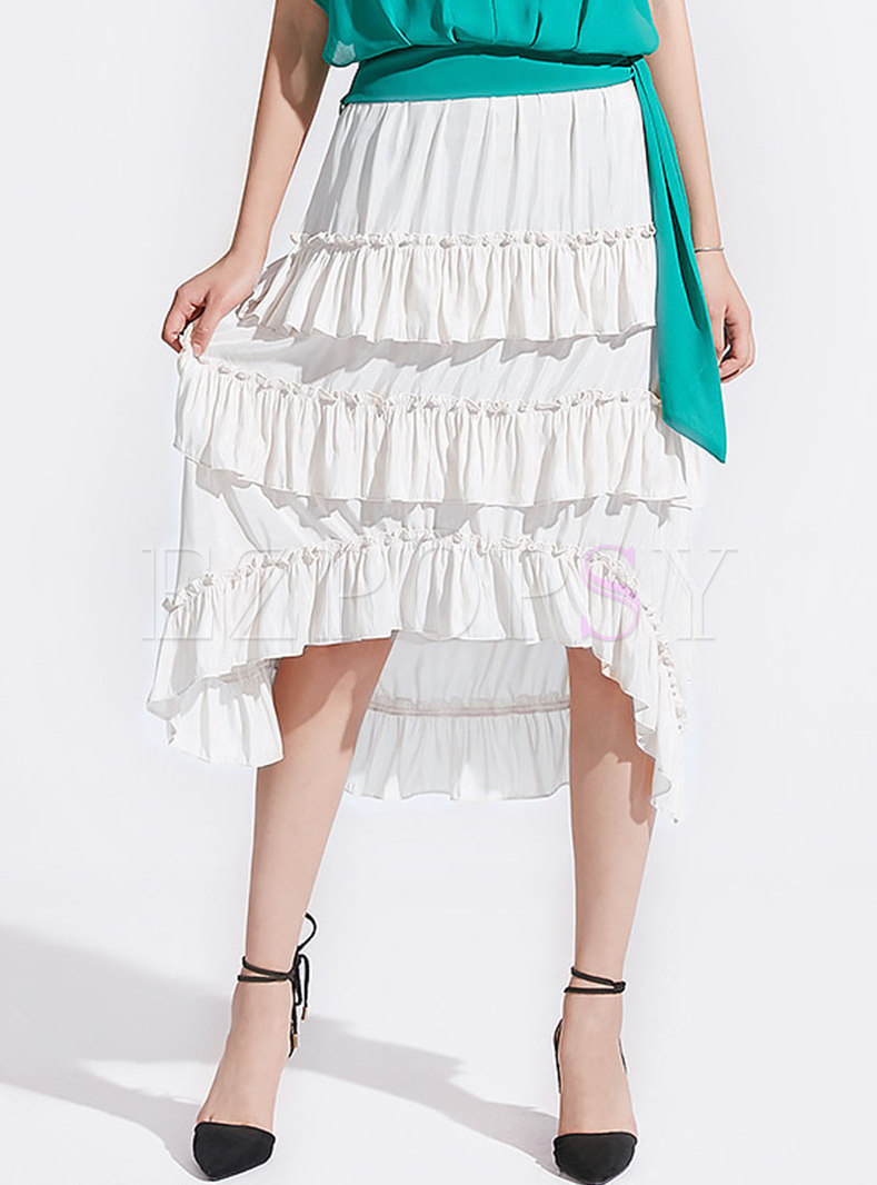 Chic High Waist Asymmetric Cake Skirt
