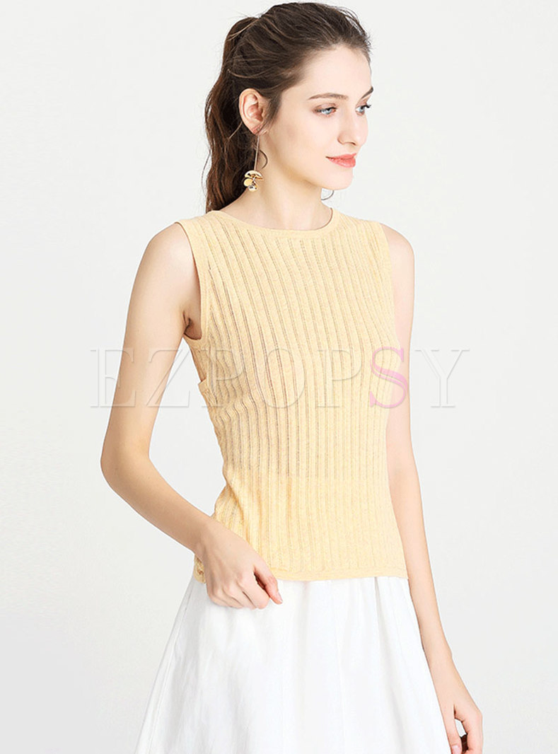 Chic Hollow Out Sleeveless Slim Knitted Tanks