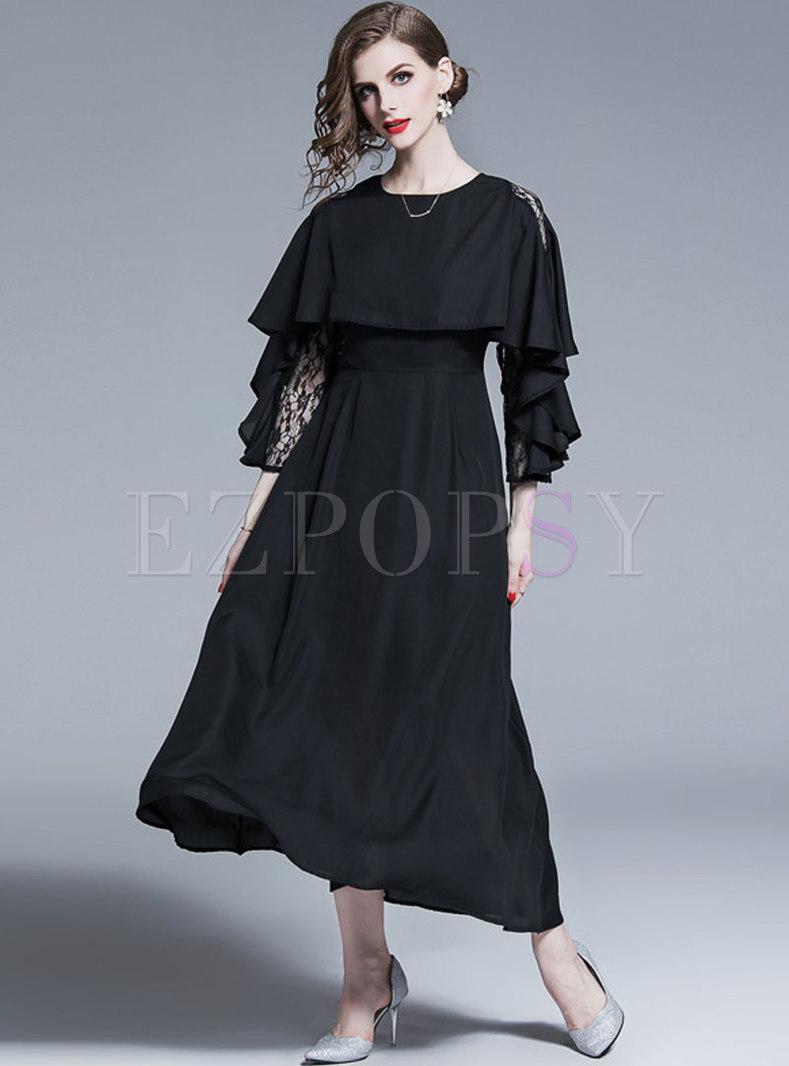 Solid Color Lace Splicing Chiffon Maxi Dress