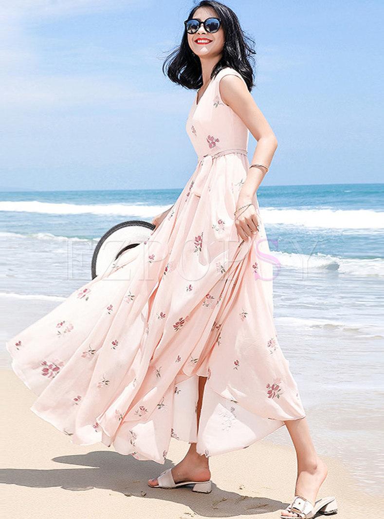 Fashion Print Bohemian Big Hem Maxi Dress