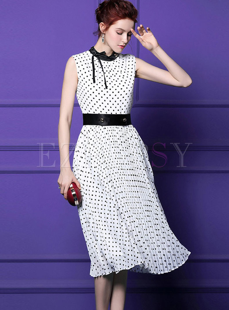 Trendy High Waist Polka Dot A Line Dress