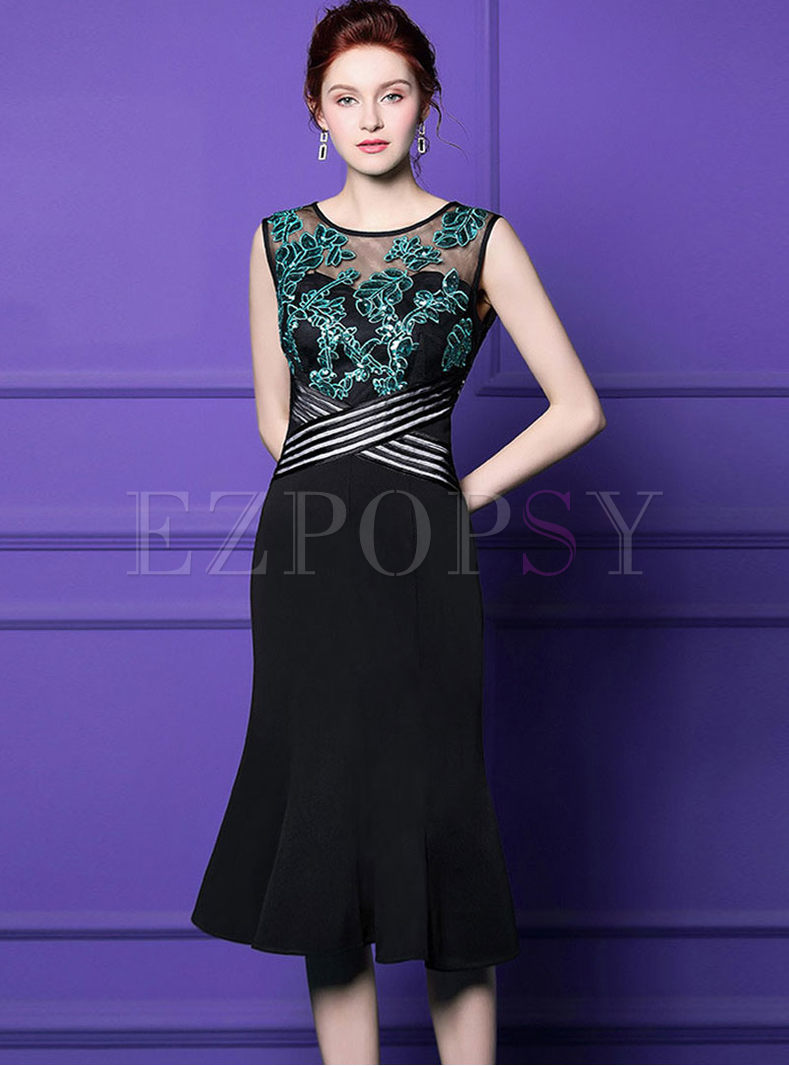 Perspective O-neck Sequined Slim Mermaid Dress