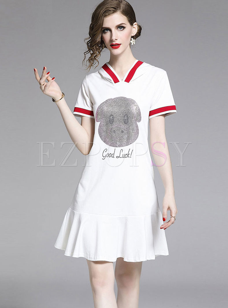 Fashion Hooded Pig Print Slim A Line Dress
