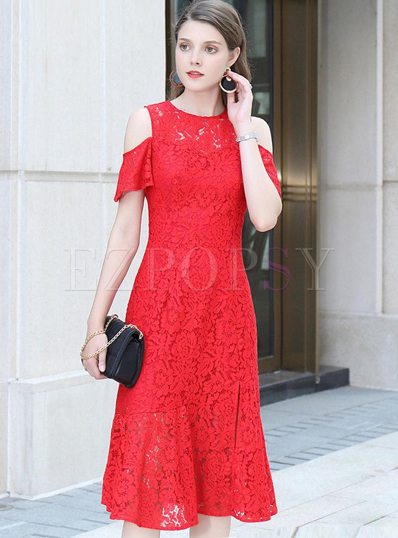 49e89362697b1 Dresses | Bodycon Dresses | Lace O-neck Off Shoulder Slit Mermaid Dress