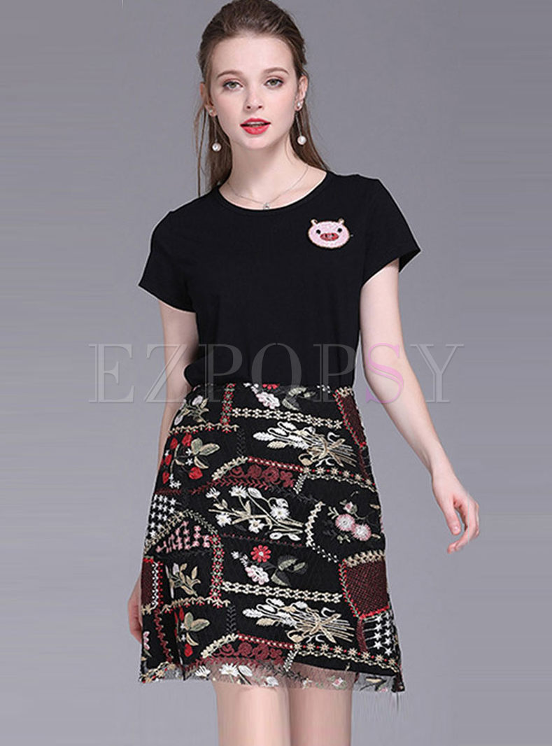 Casual O-neck Pig Print T-shirt & Embroidered Skirt