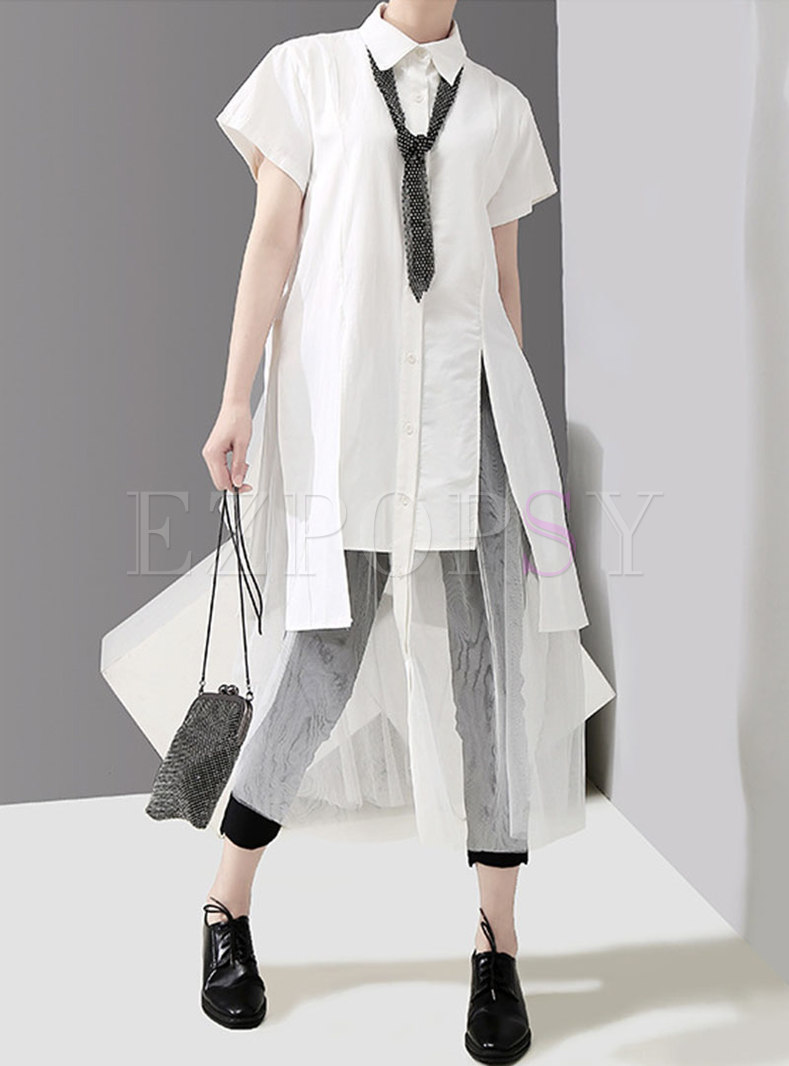 Mesh Splicing Lapel Asymmetric Loose Shirt Dress