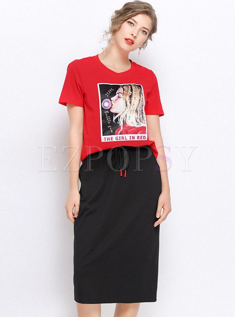 Casual Print O-neck T-shirt & Tie-waist Slim Skirt
