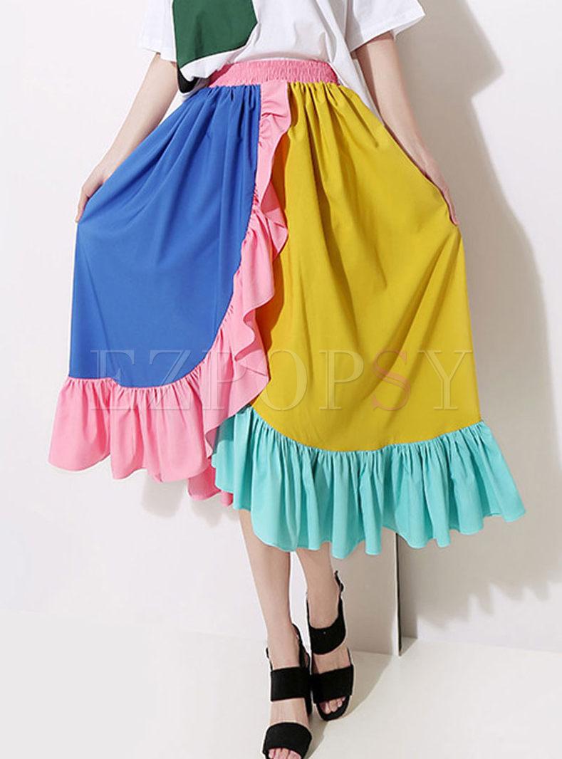 Stylish High Waist Big Hem Color-blocked Skirt