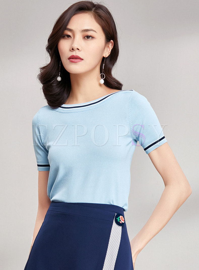 Casual Color-blocked Slash Neck Knitted Top