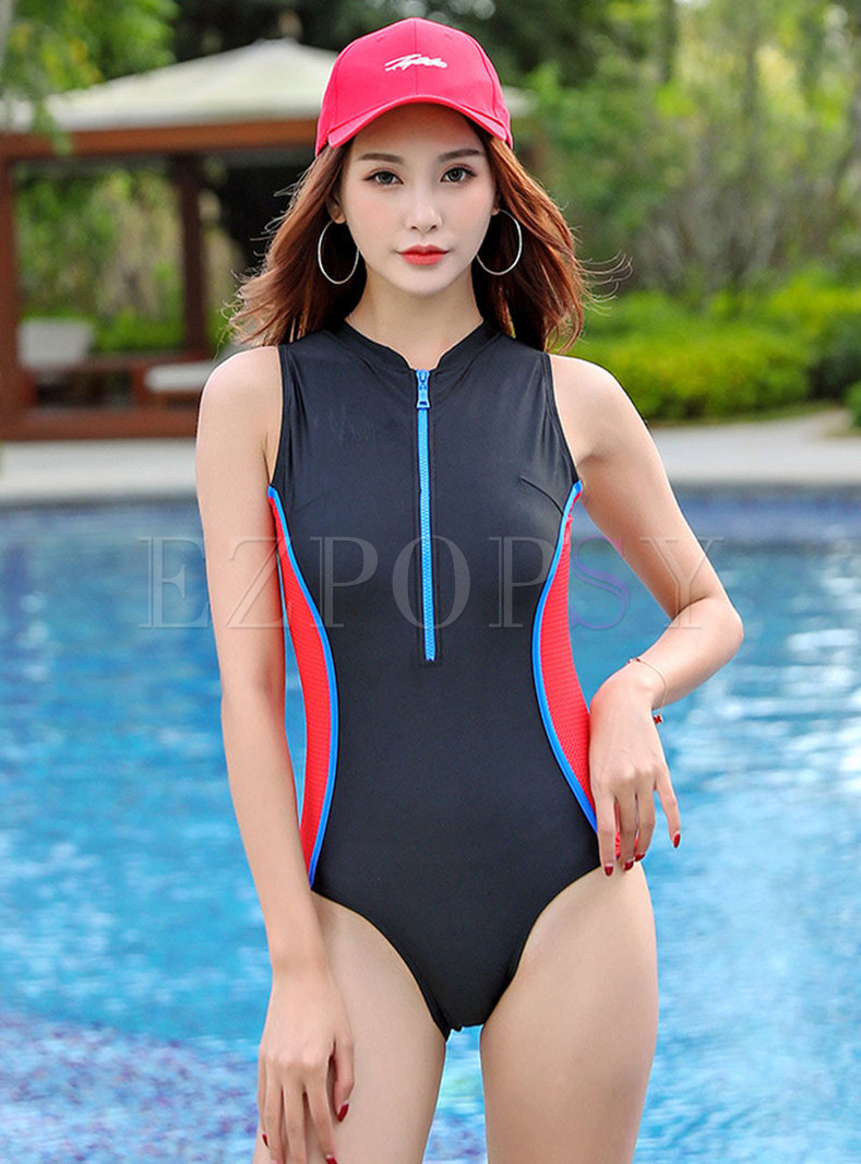 Color-blocked Breathable Zipper One Piece Swimwear