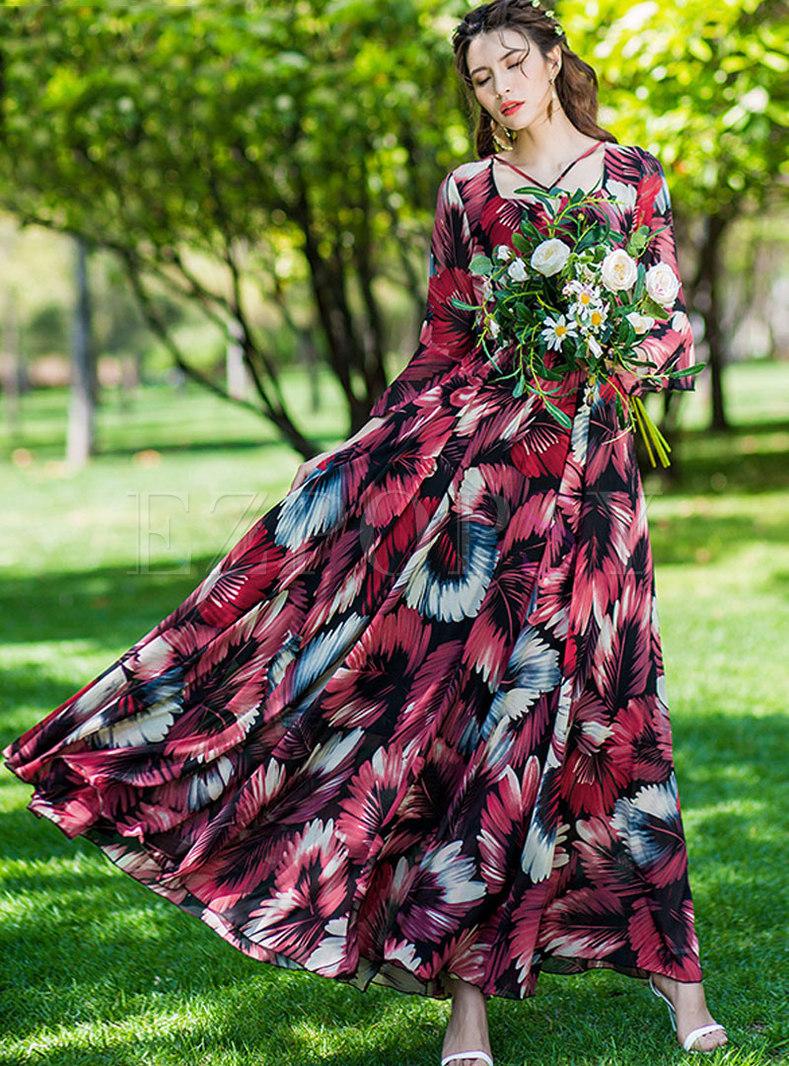 Bohemian Multi-color Print Holiday Maxi Dress