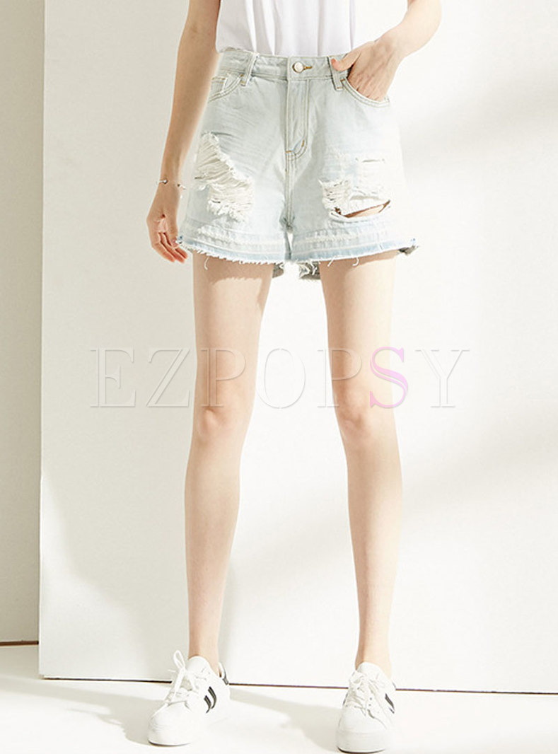 Brief Holes Rough SelvedgeLoose Short Pants