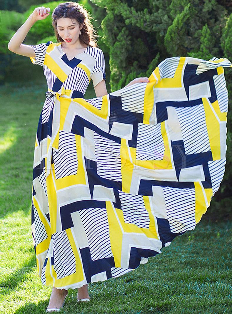 Chiffon Geometric Print Tied Slim Maxi Dress