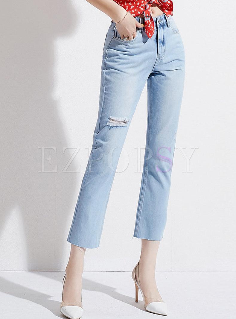 Light Blue Denim Holes Straight Pants