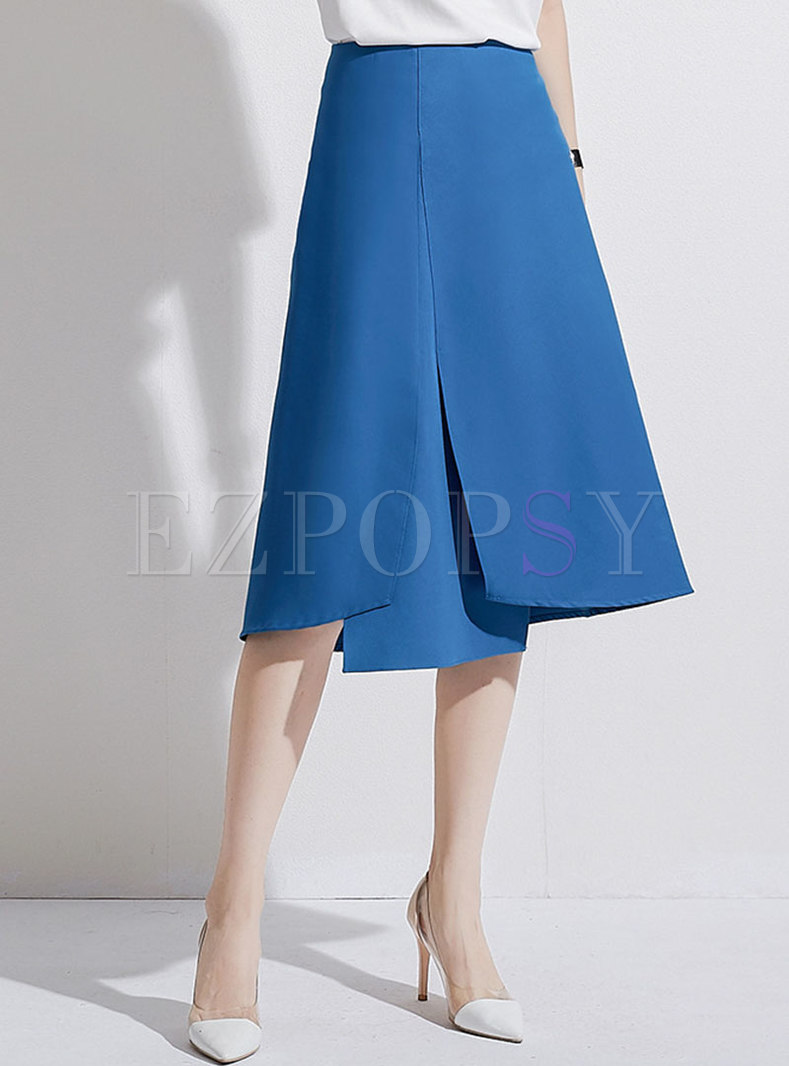 Chic Solid Color Asymmetric Slim Skirt