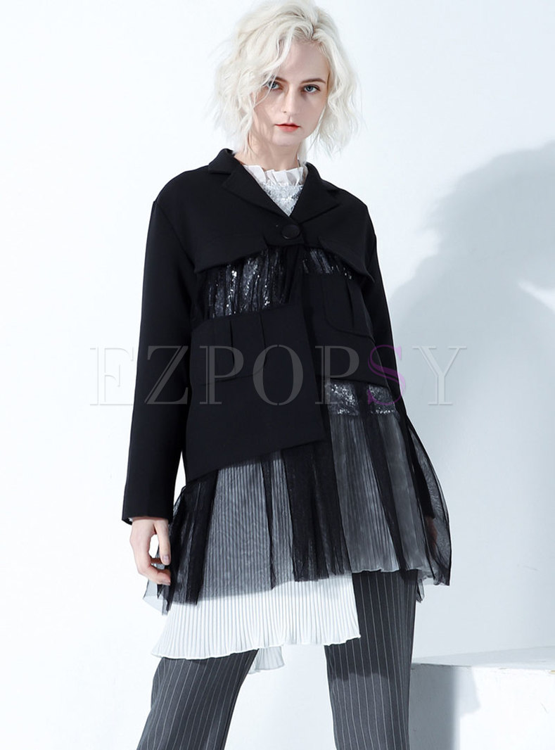 Trendy Notched Mesh Splicing Loose Coat