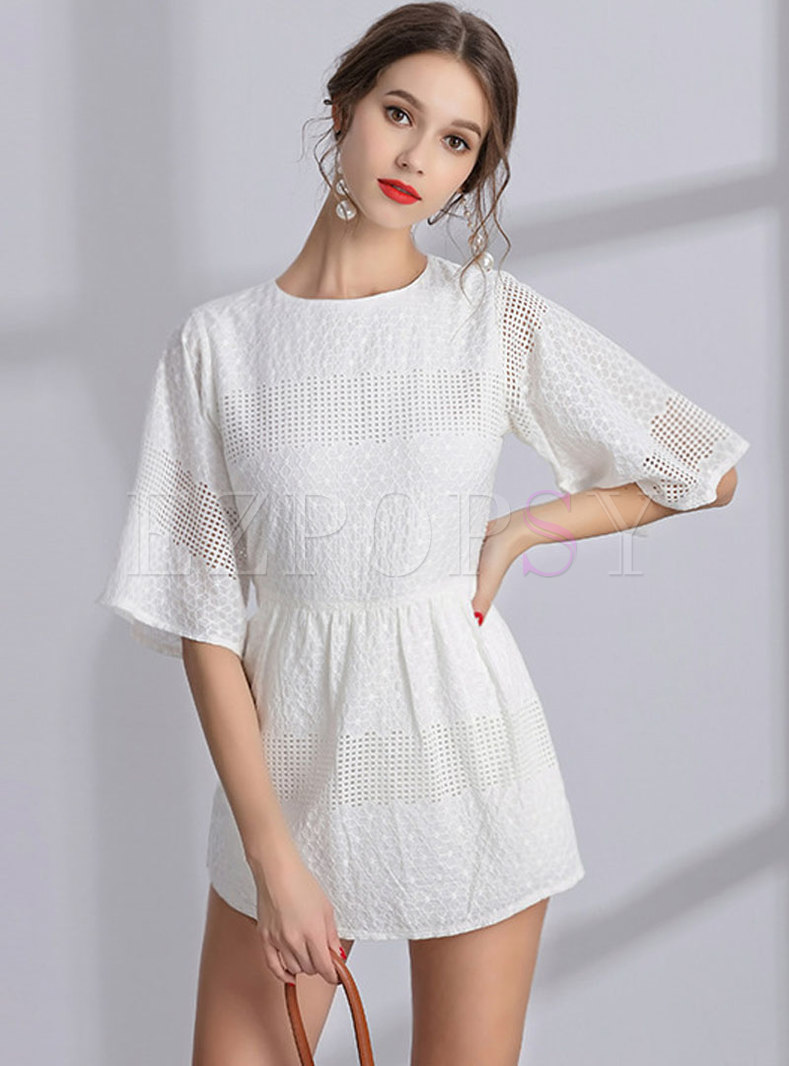 Fashion Hollow Out Pure Color Wide Leg Rompers