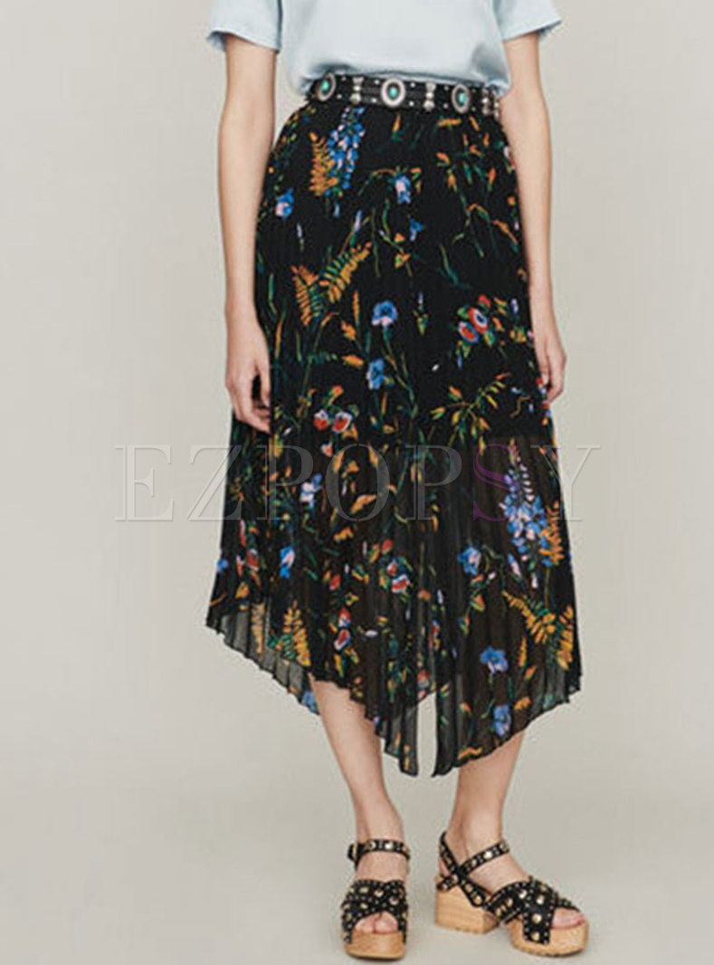 Vintage Print High Waist Asymmetric Pleated Skirt