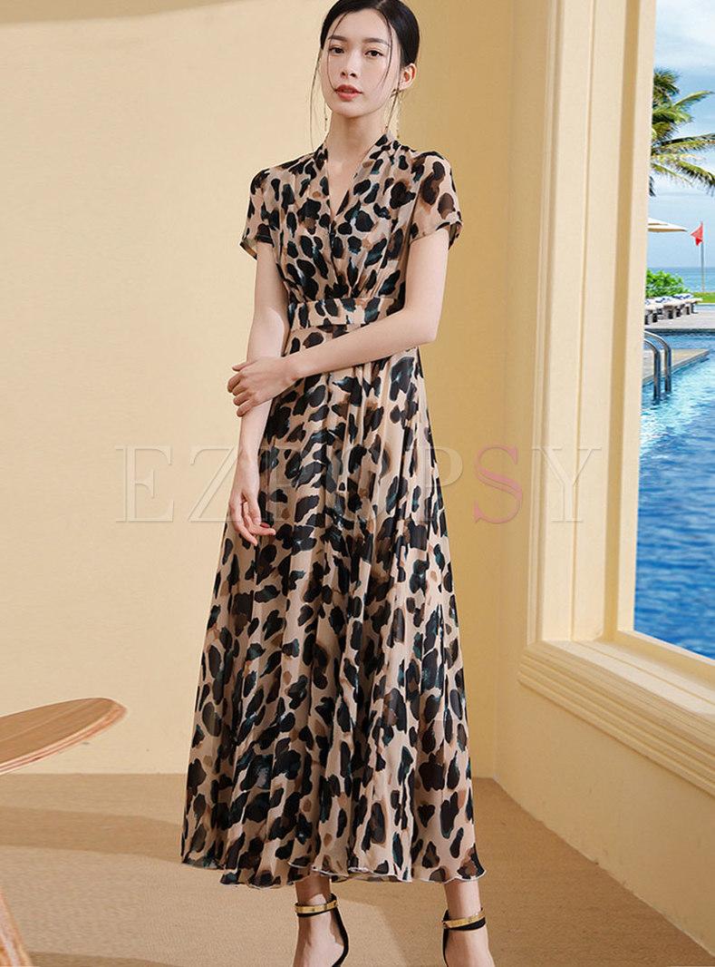 Leopard V-neck High Waist Hem Maxi Dress