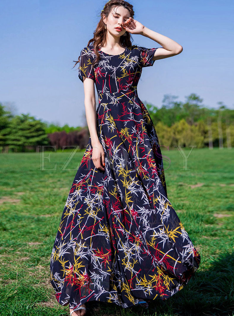 Bohemian High Waist Print Big Hem Chiffon Dress