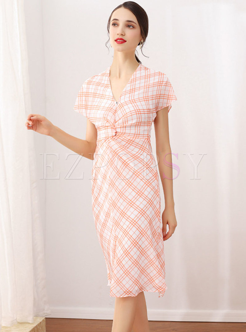 Chic Plaid V-neck High Waist Slit Sheath Dress