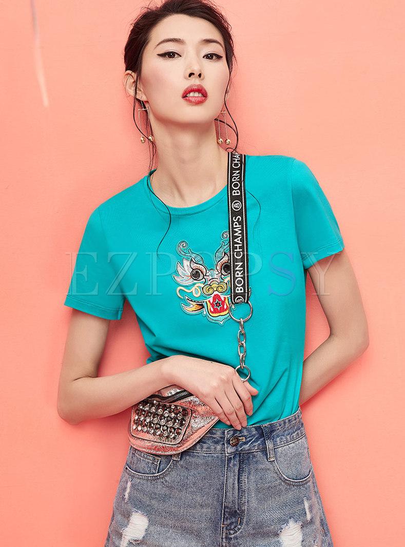 Stylish O-neck Embroidered T-shirt