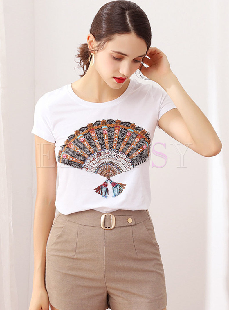 Casual O-neck Patchwork Tassel T-shirt