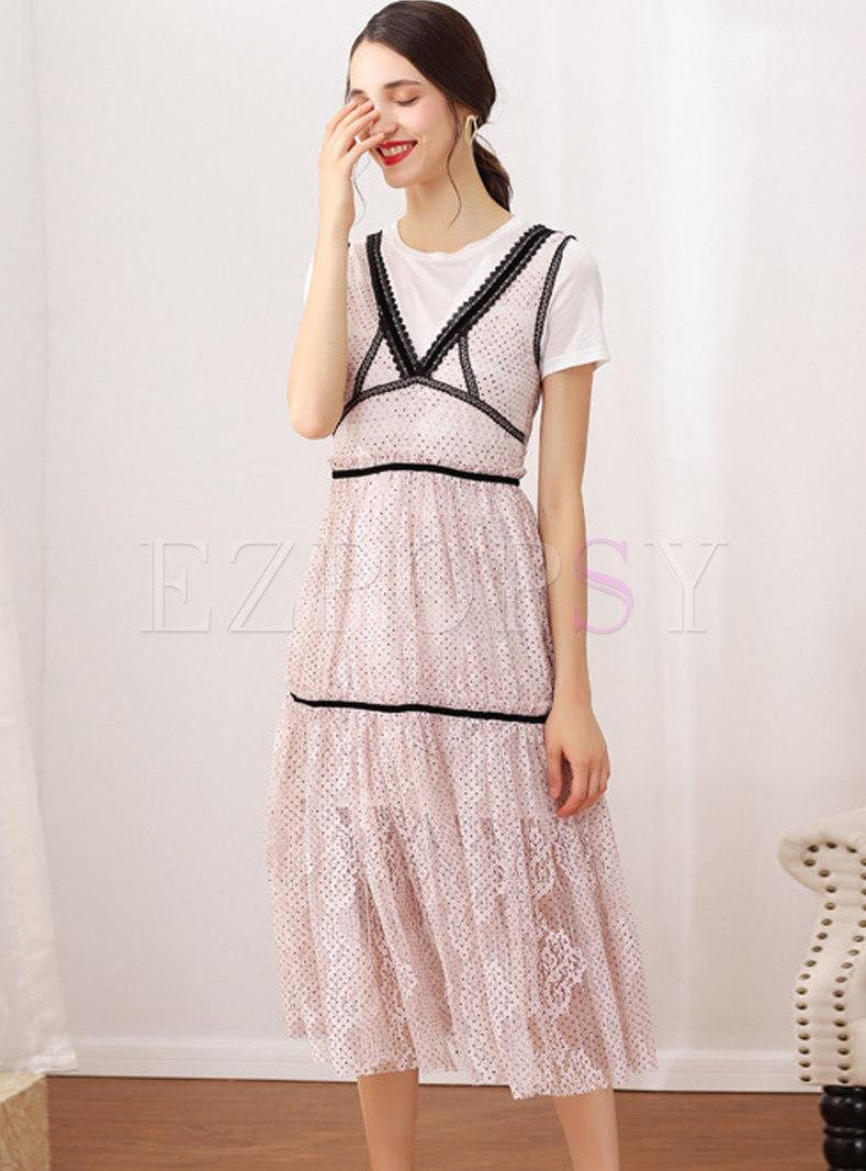 Brief White T-shirt & Mesh Pleated Polka Dot Splicing Dress