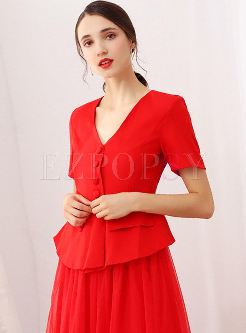 Fashion V-neck Pure Color Short Sleeve Coat