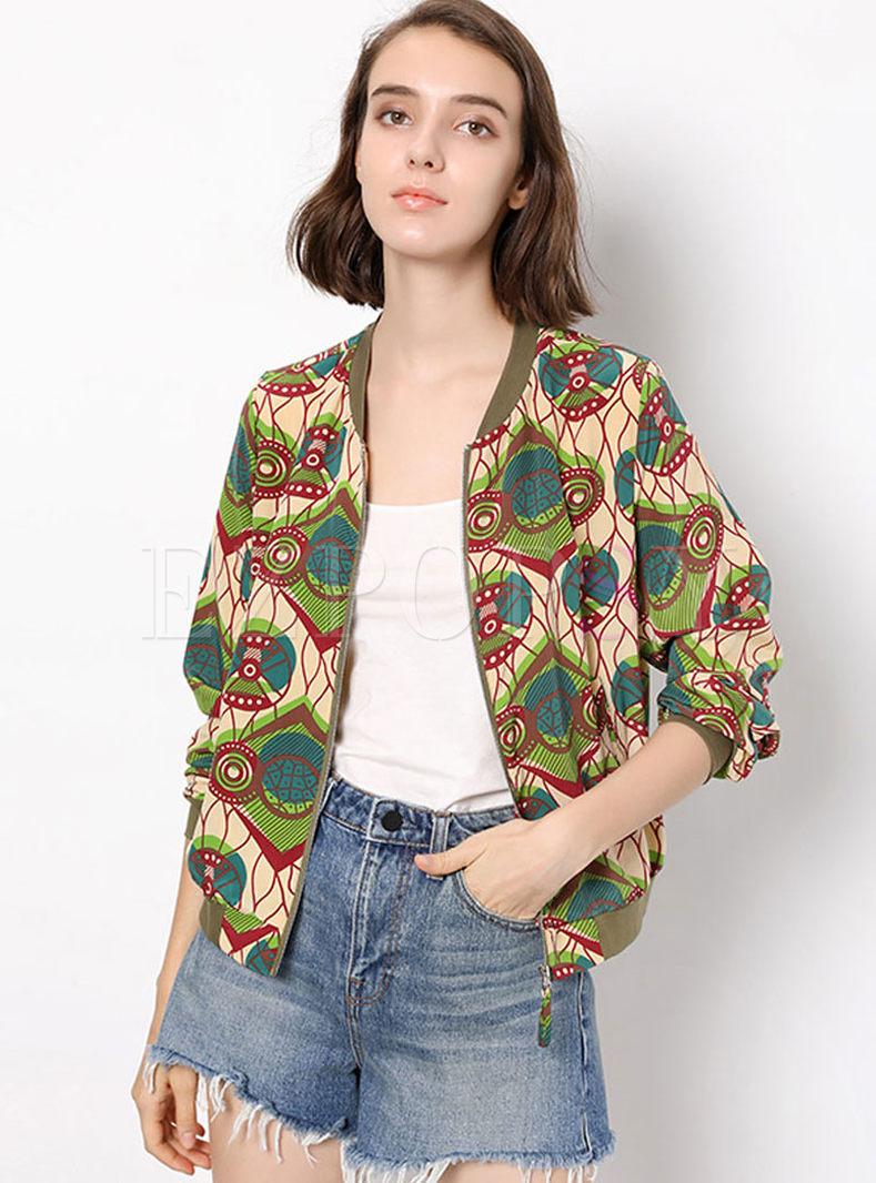 V-neck Long Sleeve Print Zippered Short Jacket
