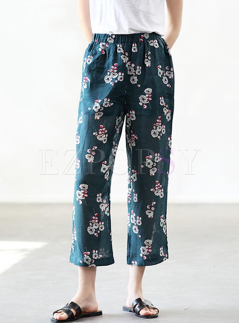 Casual Elastic Waist Print Straight Pants
