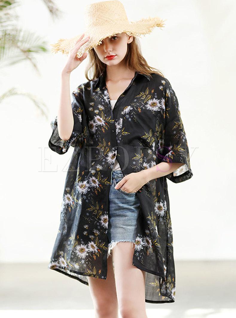 Lapel Print Loose Half Sleeve Casual Sun-protective Coat
