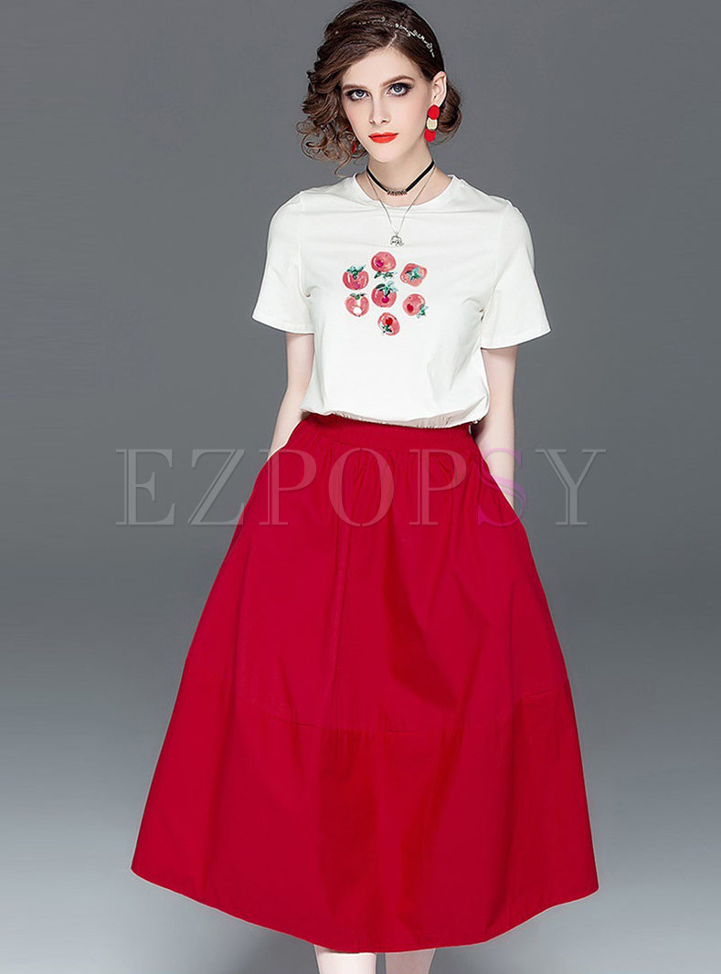Casual Print O-neck T-shirt & High Waist A Line Skirt
