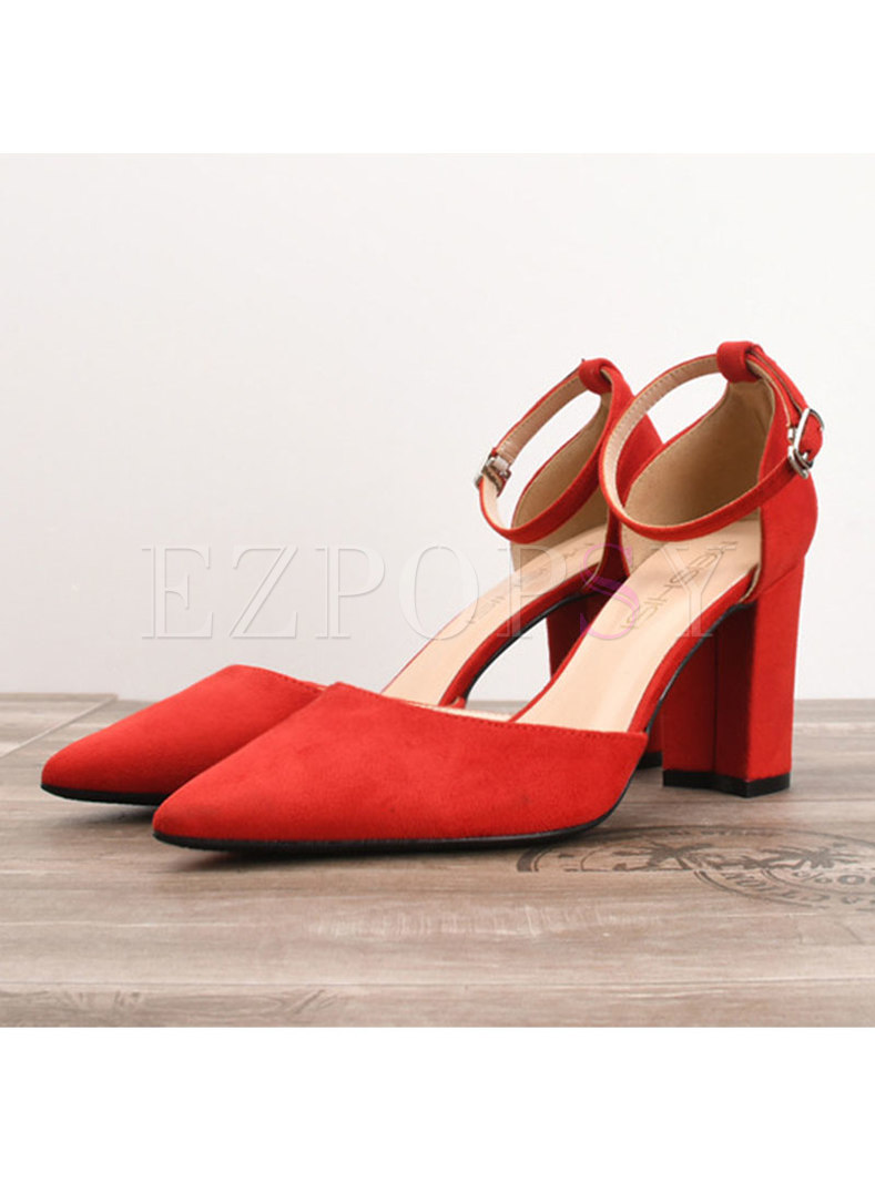 Stylish Pointed Toe Flock Chunky Heel Shoes