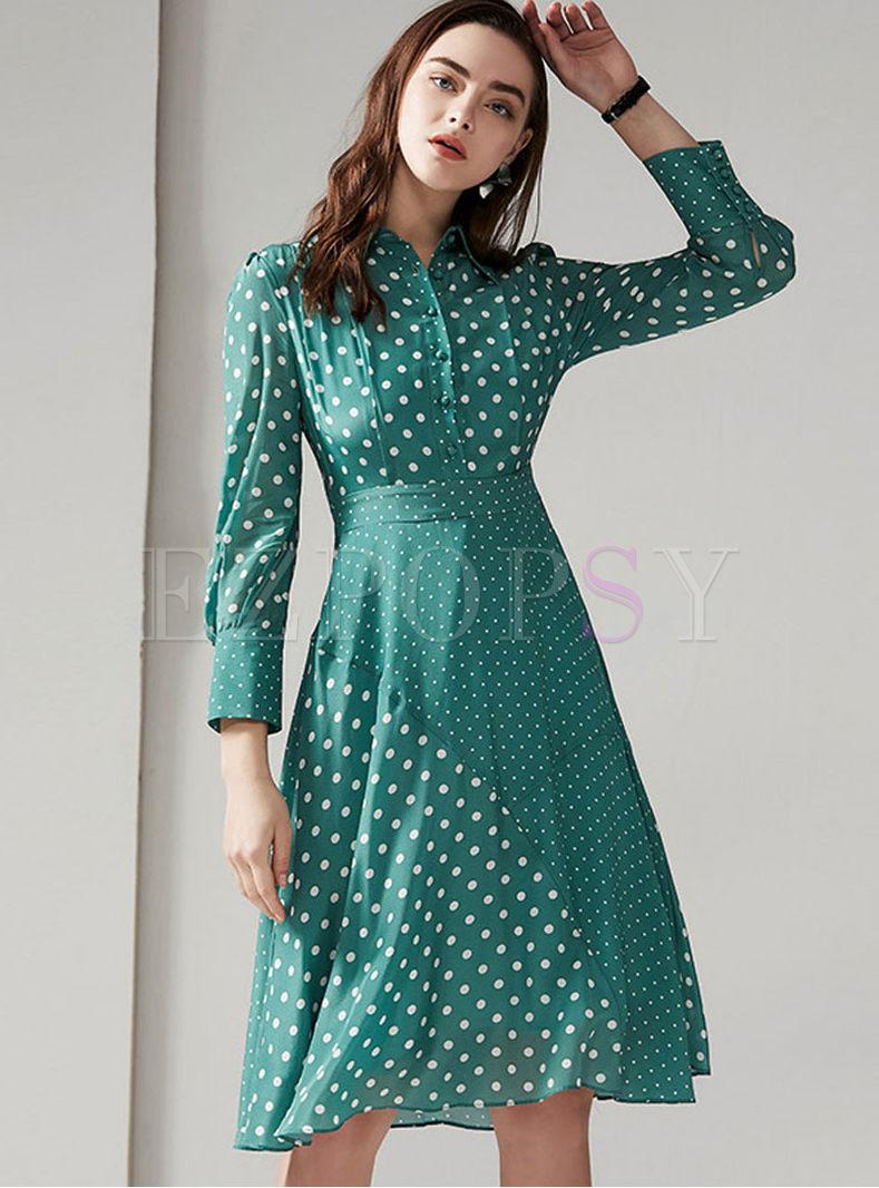 Stylish Lapel Long Sleeve High Waist Dress