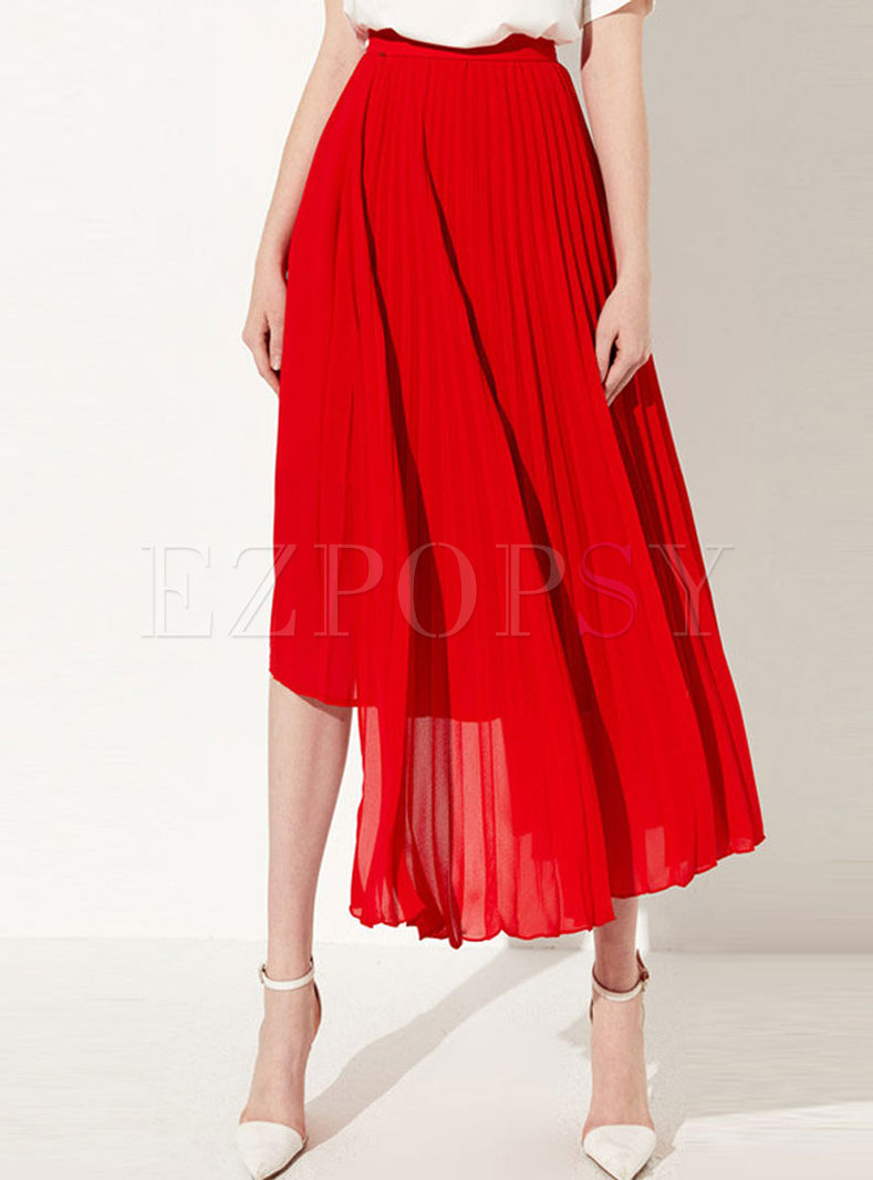 Red High Waist Big Hem Irregular Pleated Skirt