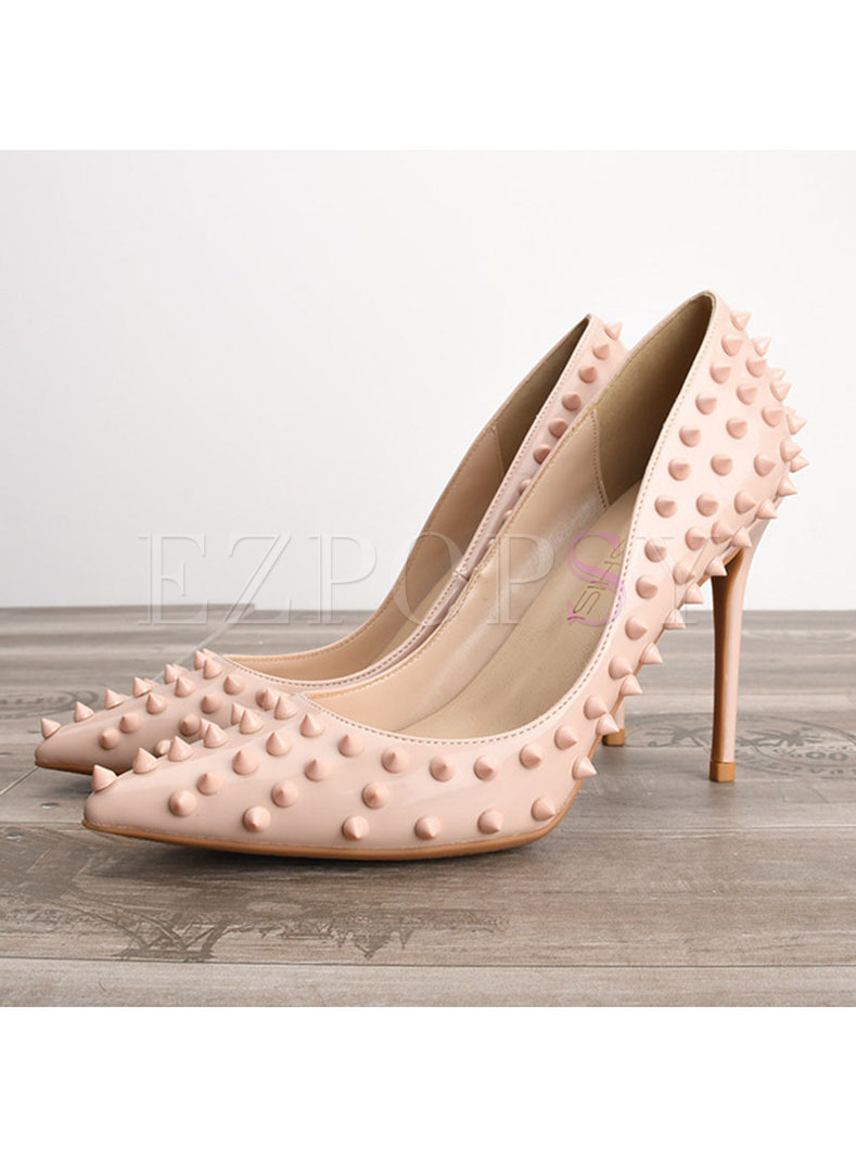 Chic Rivet Pointed Toe High Heel Shoes