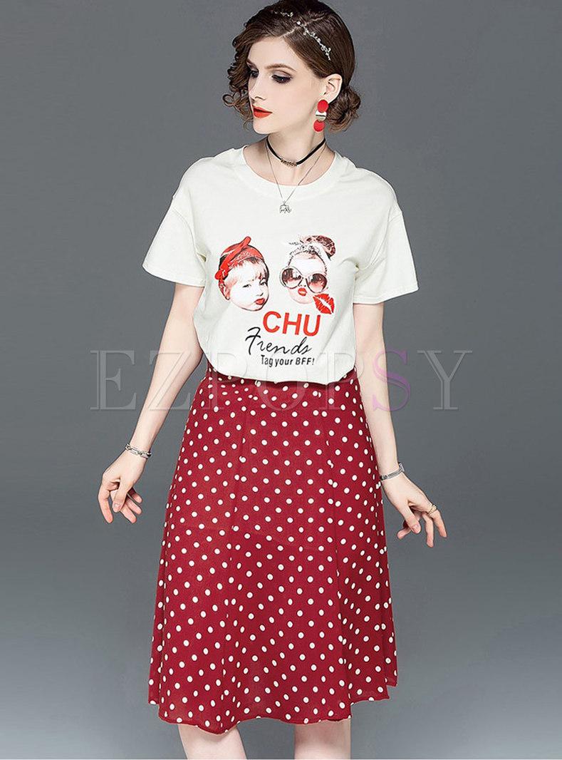 Print O-neck T-shirt & Polka Dot A Line Skirt