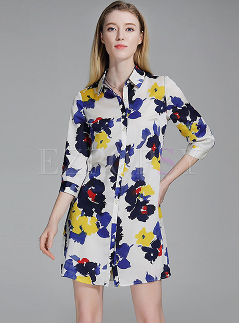 Brief Turn-down Collar Print T-shirt Dress