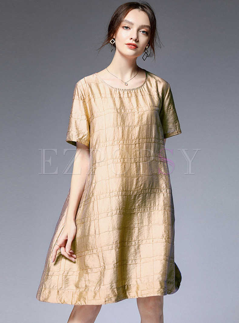 Brief Pure Color O-neck Shift Midi Dress