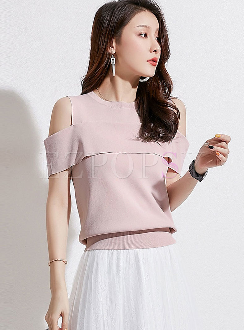 O-neck Off Shoulder Solid Color Knitted T-shirt