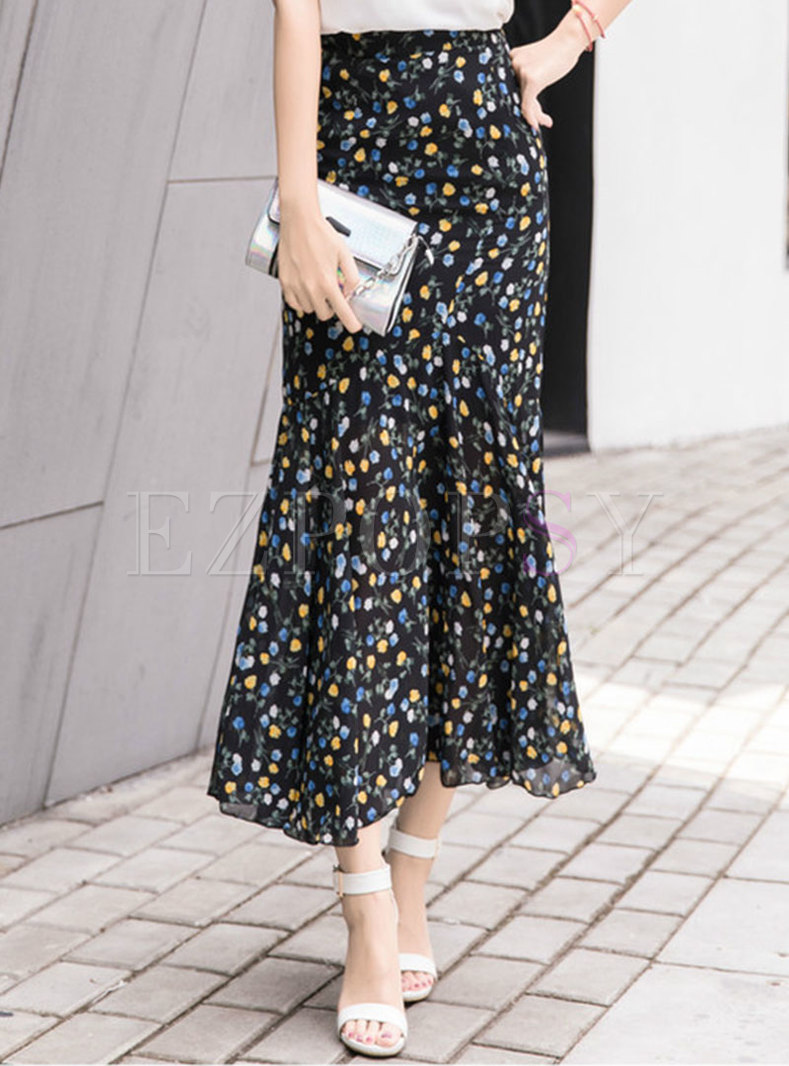 Chiffon Floral High Waist Mermaid Skirt
