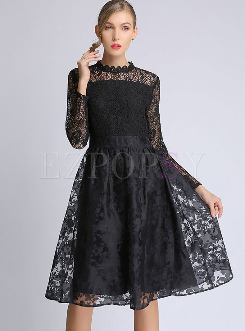 Plus Size Lace Long Sleeve Big Hem Skater Dress