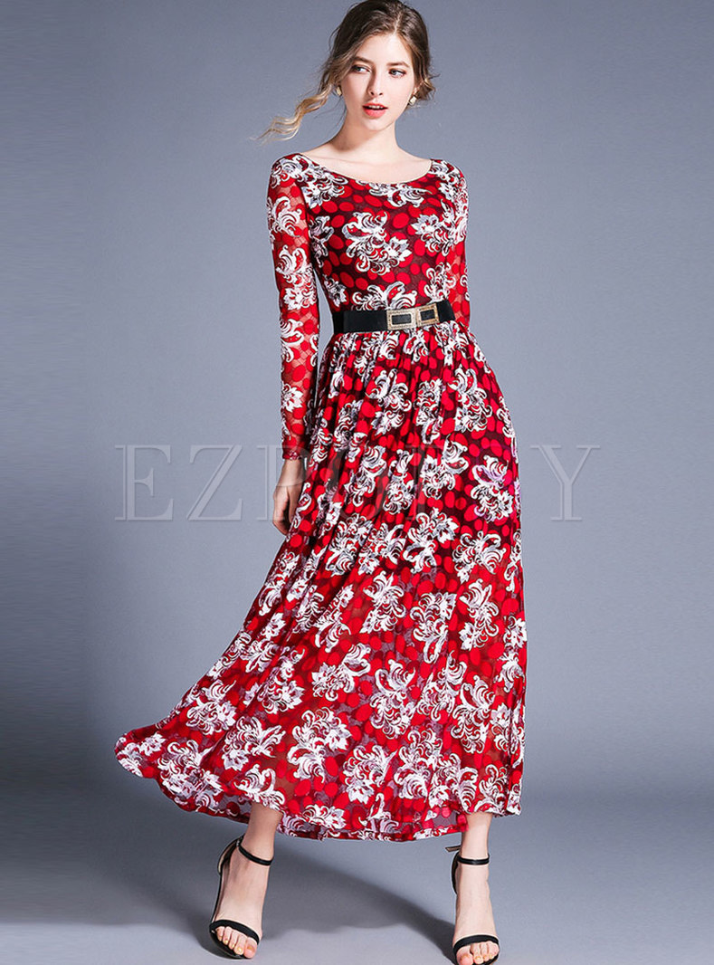Vintage Lace Print Belted Slim Maxi Dress