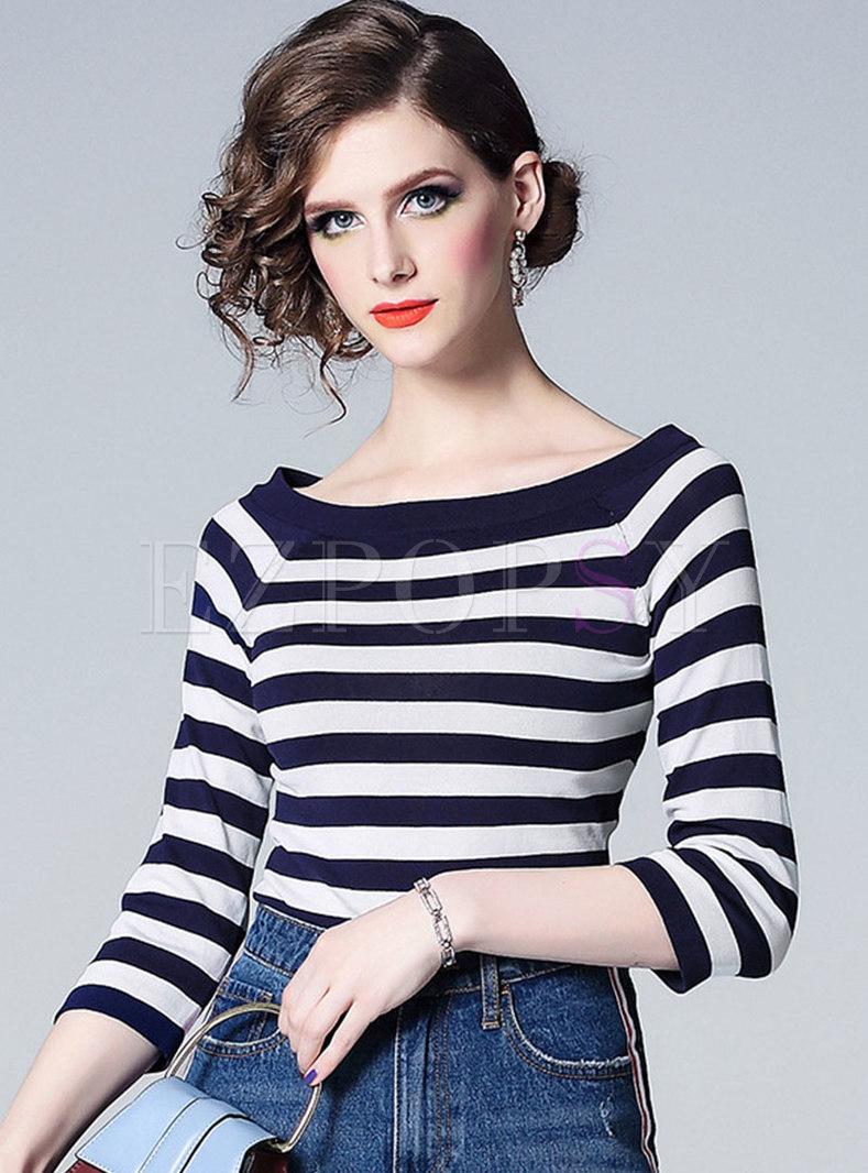Striped Slash Neck Slim Knitted Top