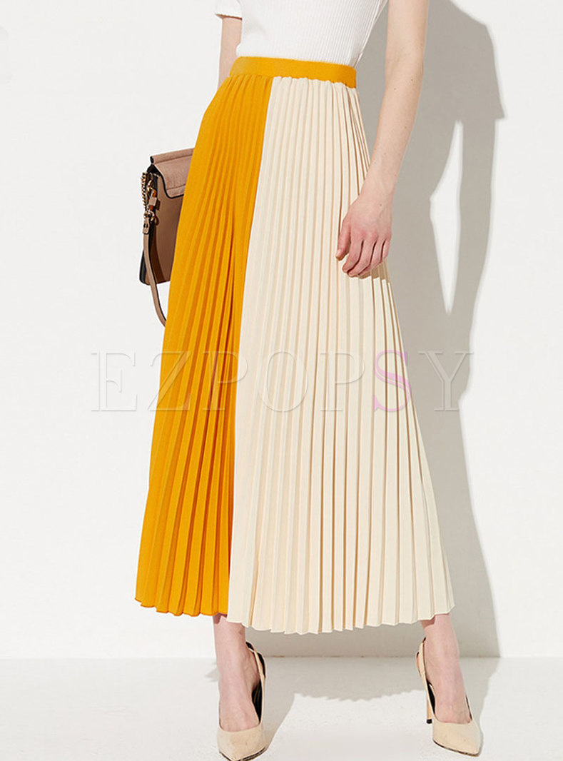 Stylish Color-blocked Splicing Pleated Skirt