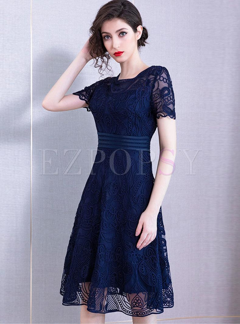 Chic O-neck Embroidered Gathered Waist Midi Dress