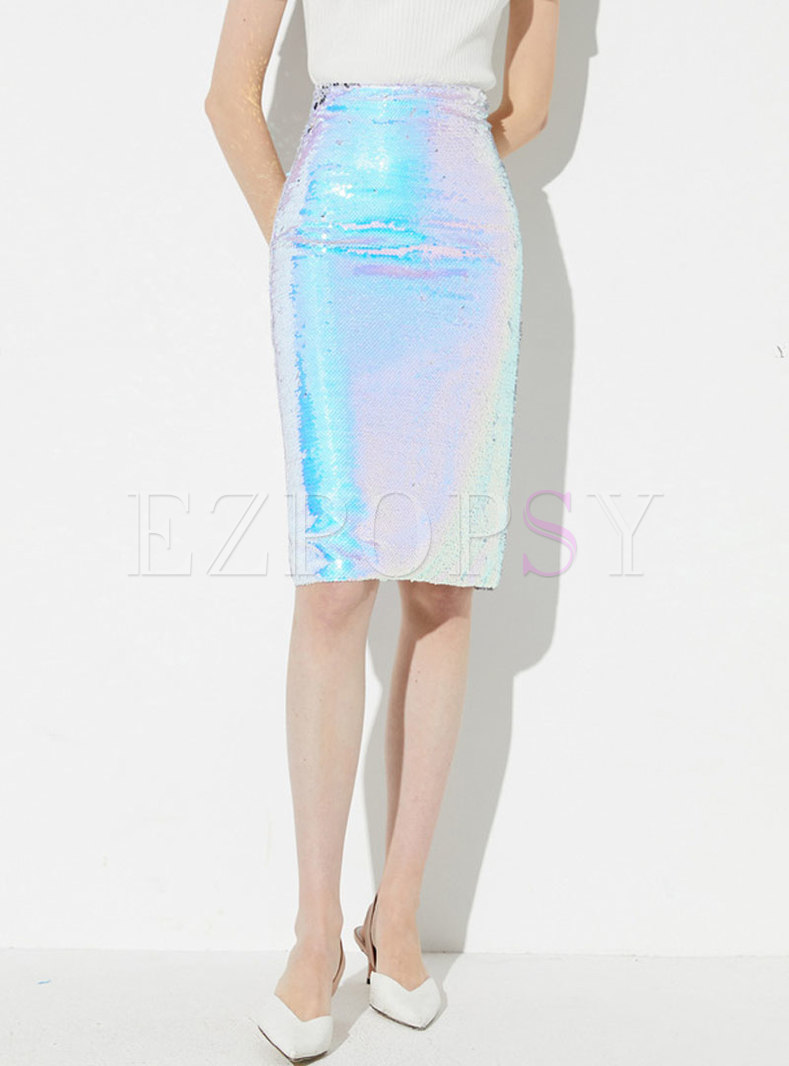 Chic Sequined Splicing Sheath Slim Skirt