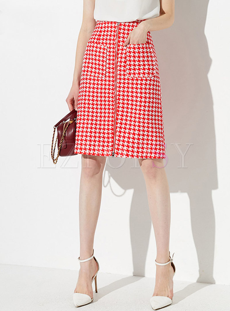 Fashion Plaid Zipper High Waist Sheath Skirt