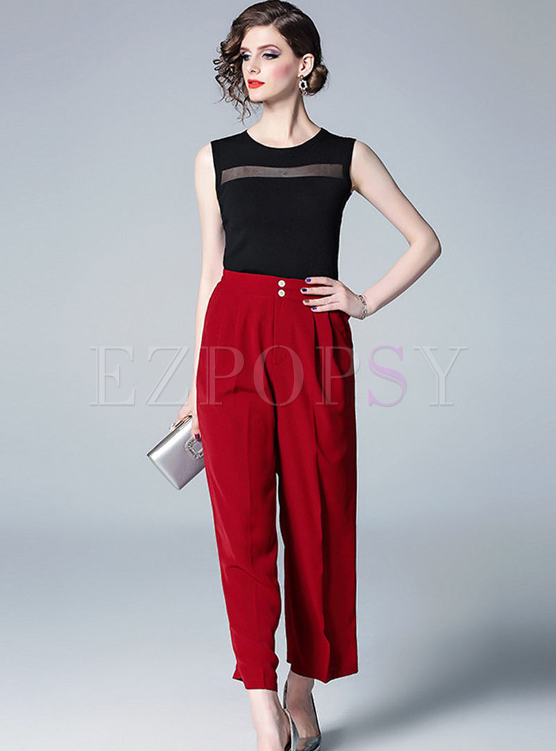 Solid Color Splicing Sleeveless Tanks & Wide Leg Pants